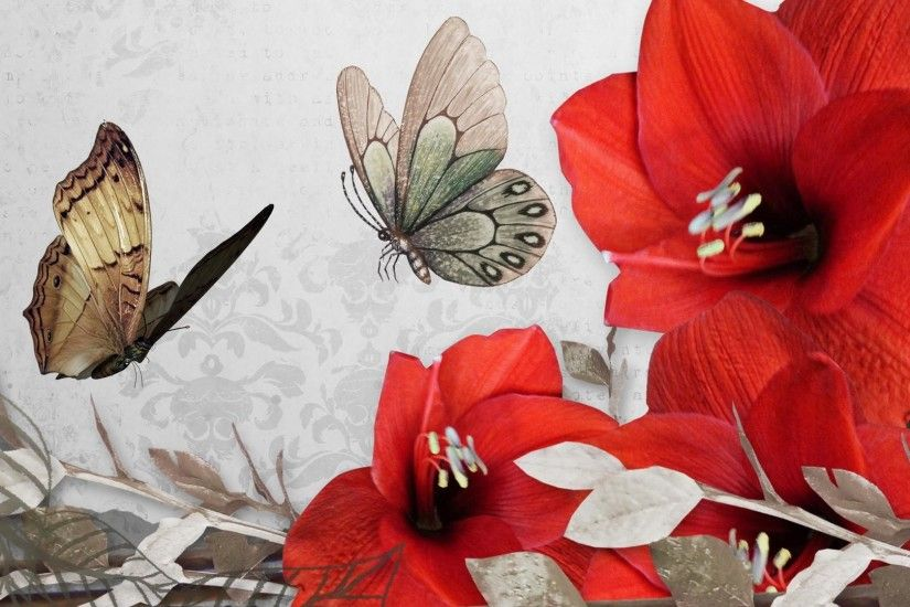 Red-Flower-and-butterfly-Vintage-Wallpapers-HD-1