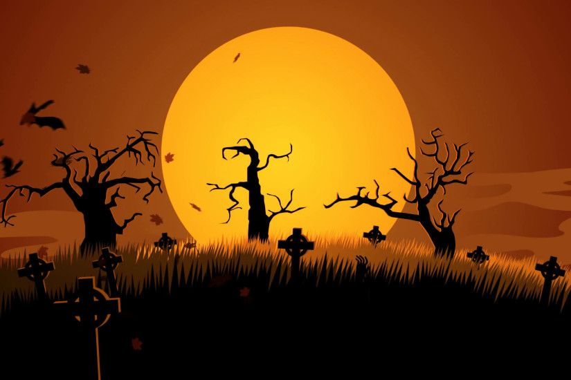 A Creepy Graveyard Halloween Background Scene. Zombie Spooky Moon Pumpkin