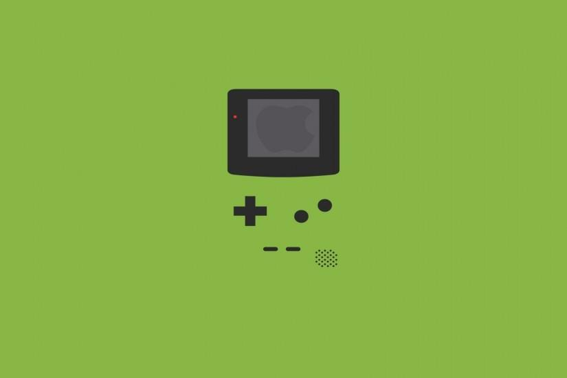 Game console Nintendo, green background