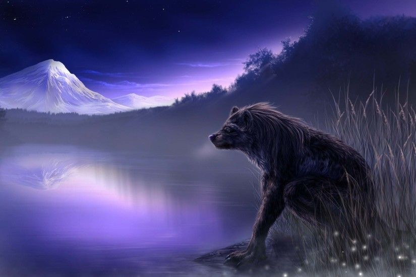 Awesome Grizzly Bear At Night