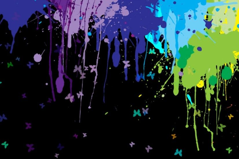 paint Splatter, Colorful, Multiple Display, Butterfly Wallpapers HD /  Desktop and Mobile Backgrounds