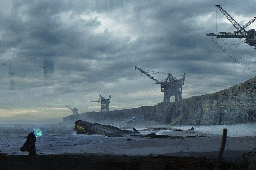 weyland yutani alien planet man beach crane sand sea water clouds fan art  strangers fiction planet