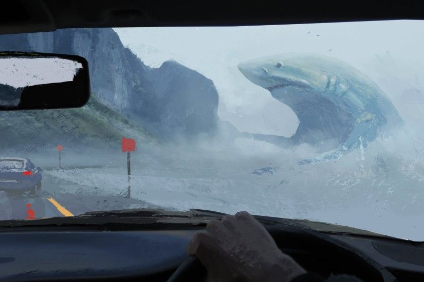 artwork, Painting, Shark, Animals, Car, Road, Sea, Car Interior, Megalodon,  Fantasy Art, Digital Art Wallpapers HD / Desktop and Mobile Backgrounds