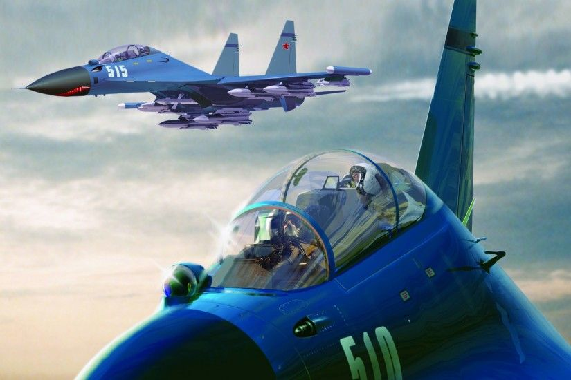 Wallpaper Sukhoi Su-27 Fighter Airplane Airplane Aviation Fighter aircraft
