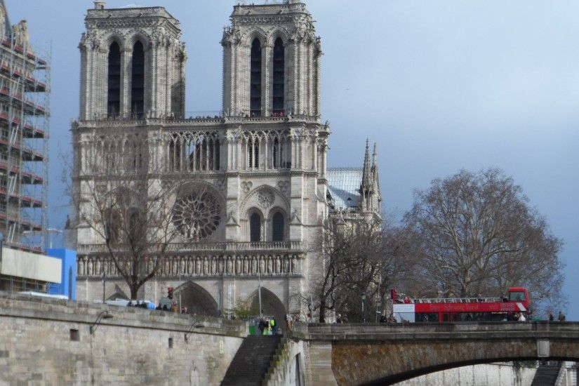 Ancient - Notre-Dame Paris SAM Cathedral Notredame Saine River Dual Monitor  Background for HD