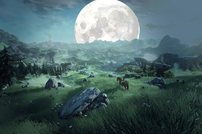 landscape, Green, Fantasy Art, Moon, The Legend Of Zelda Wallpaper HD