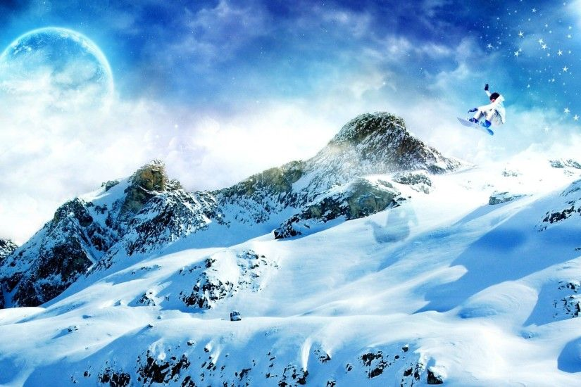 Preview wallpaper snowboard, snow, mountains 3840x2160