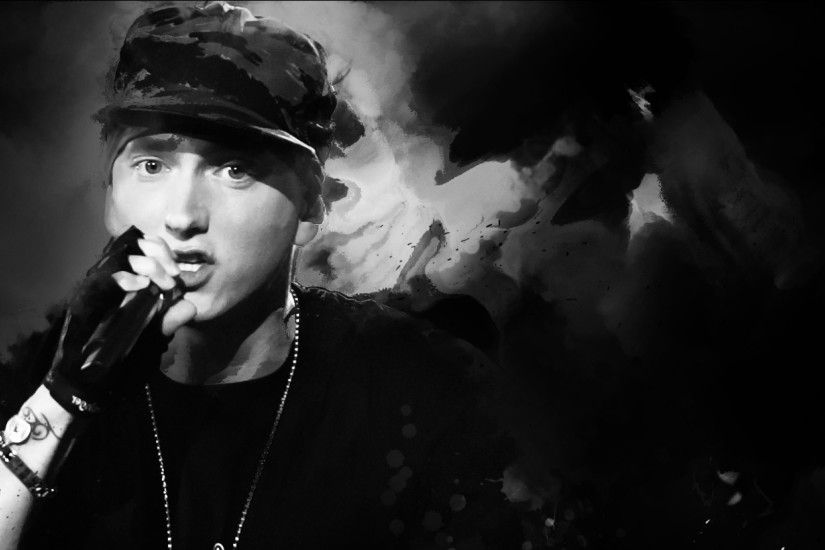 Preview wallpaper eminem, rap, hip-hop, celebrity, bw 2560x1080