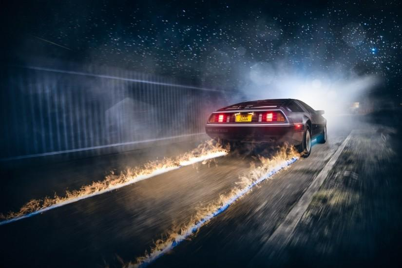 race Cars, Road, Back To The Future, Fire Wallpaper