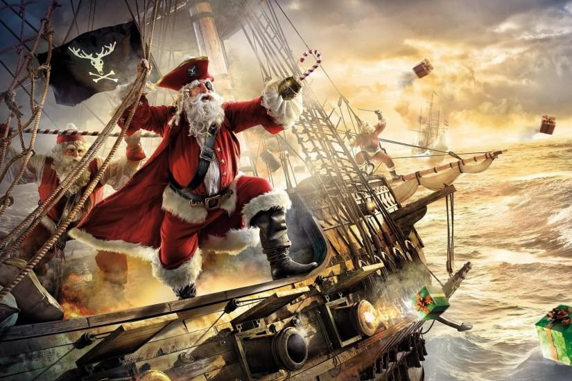 1920x1080 Wallpaper santa claus, pirate, ship, gifts, sea, storm
