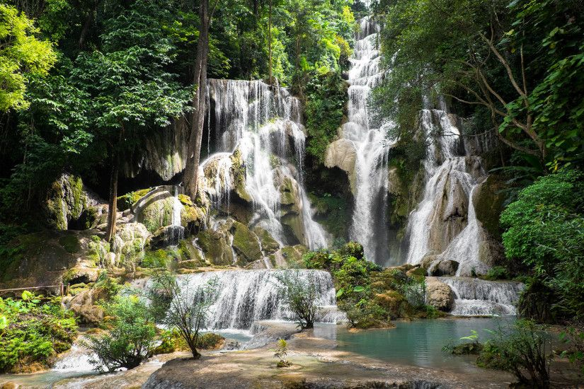 Pictures Kuang Si Falls Laos Nature Waterfalls Tropics Moss