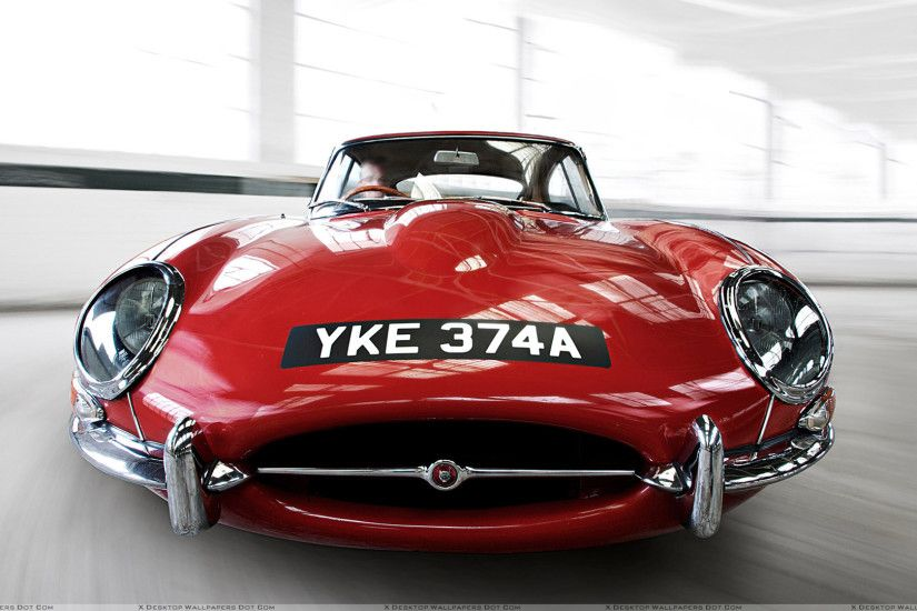 "You are viewing wallpaper titled ""Running Front Pose Of Jaguar E Type ..."