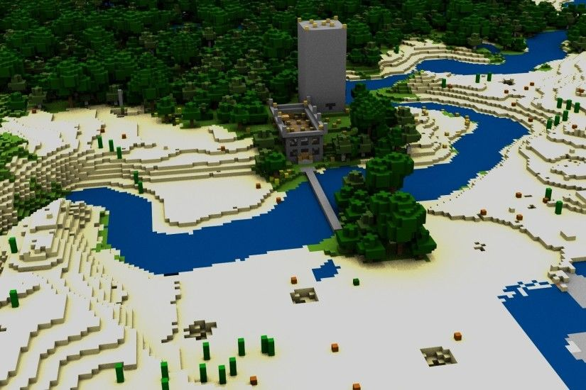 Preview wallpaper minecraft, house, bridge, river, trees 3840x2160