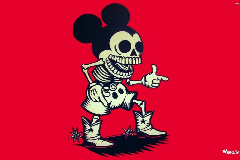 ... Mickey Mouse Skull with Red Background Wallpaper · Mickey and Minnie ...