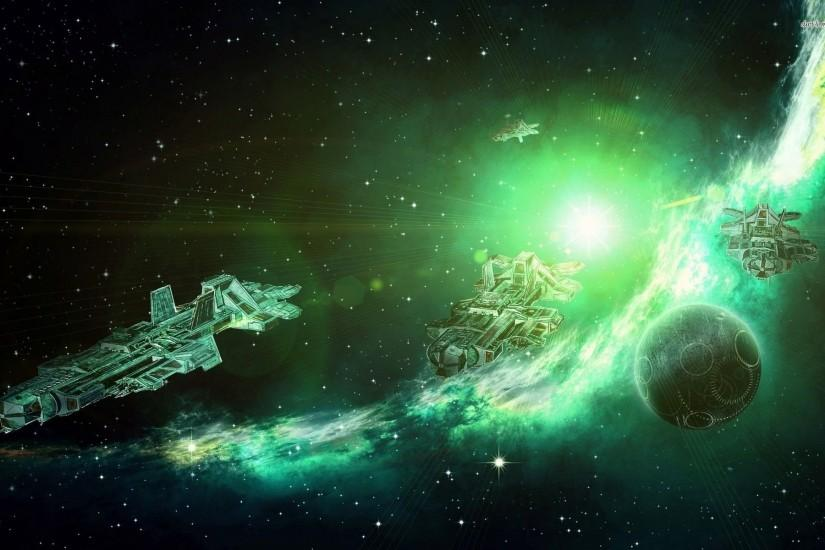 Spaceship In The Green Cosmos Wallpaper