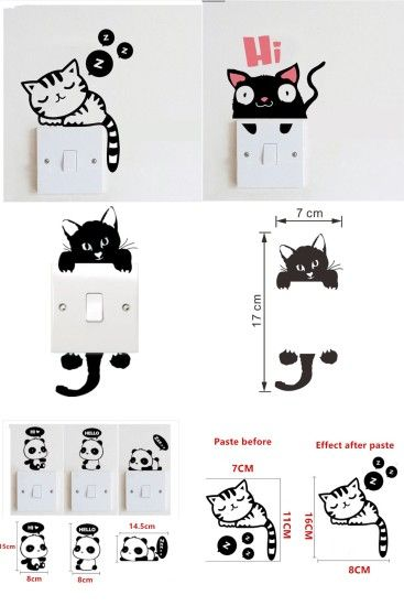 [Visit to Buy] Sleepy Cat Switch Stickers DIY Funny Cute panda Cat Dog  Switch
