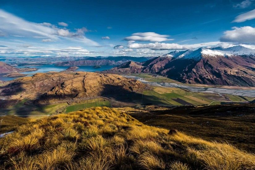 Landscapes Zealand View New Lake Wanaka Mountain Nature Wallpapers PC