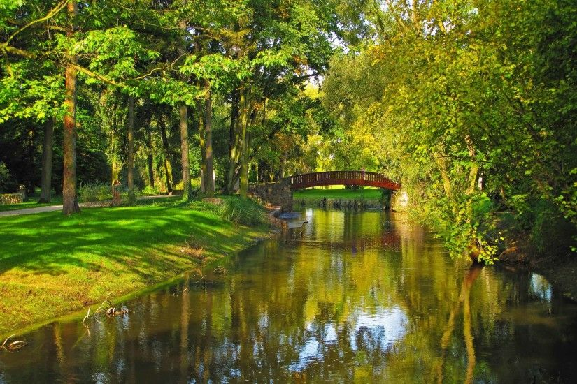Rivers Sochaczew Trees Grass Bridge River Park Poland Nature Desktop  Wallpaper HD Full Screen