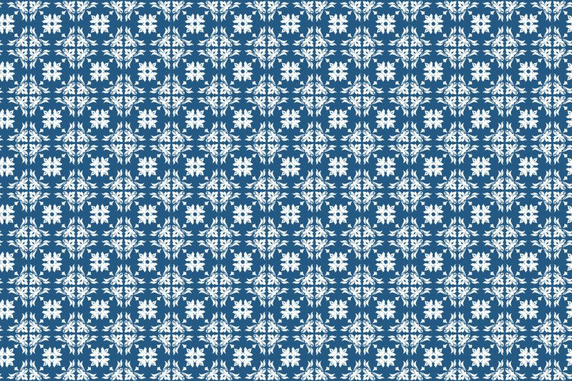 White floral pattern on a blue background