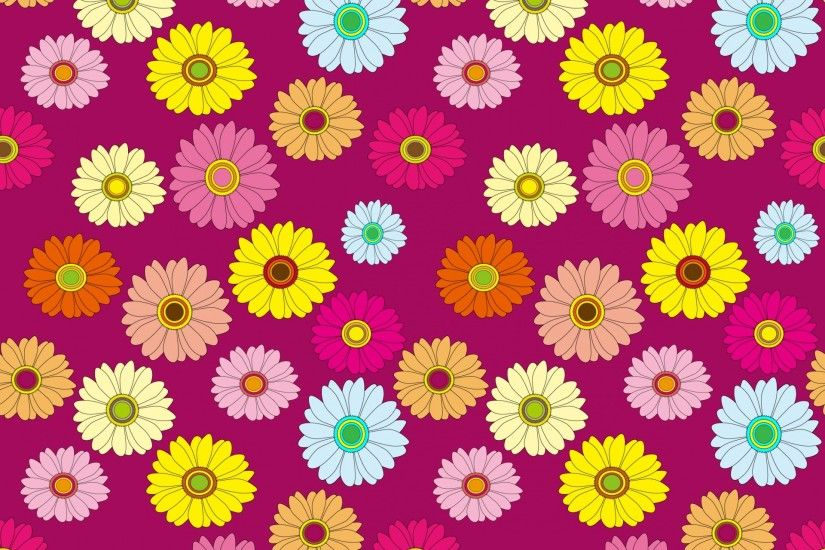 Floral Pattern Colorful Wallpaper