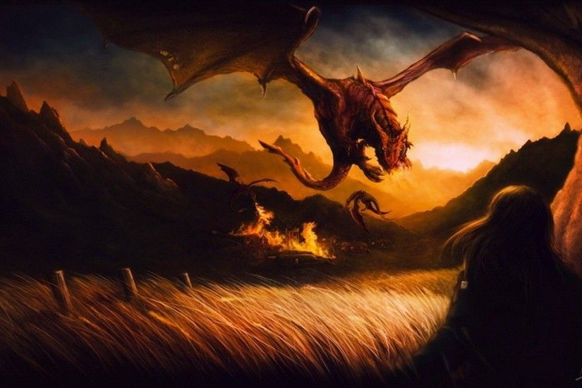 Dragons attacking the village Wallpaper