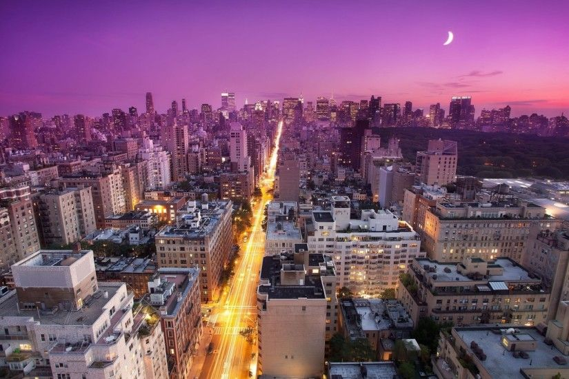 1920x1080 Wallpaper new york, sunset, buildings, city lights, top view