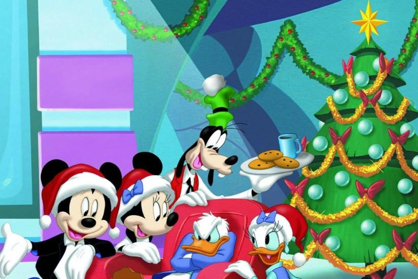 Disney Christmas Mickey Mouse Donald Duck FullHD Wallpaper