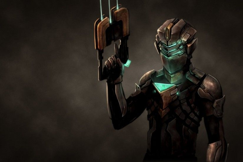 dead space suit dark background weapon
