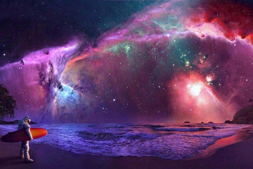 UltraHD wallpaper icon Surfing astronaut - Fantasy art wallpaper