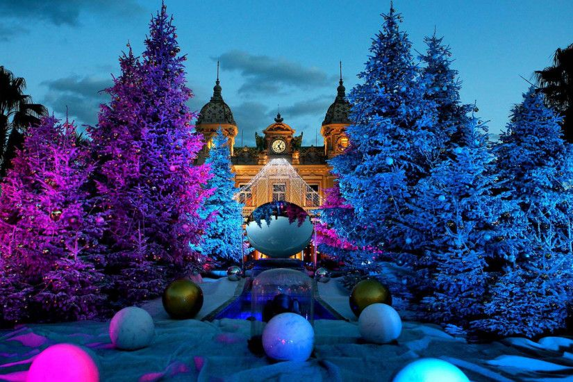Preview wallpaper christmas tree, casino, monte carlo, monaco 1920x1080