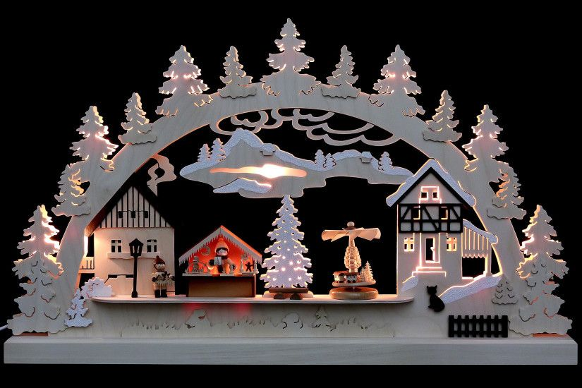 Candle Arch - Christmas Village (62×37×5,5 cm/24×14×2in) by Michael Müller