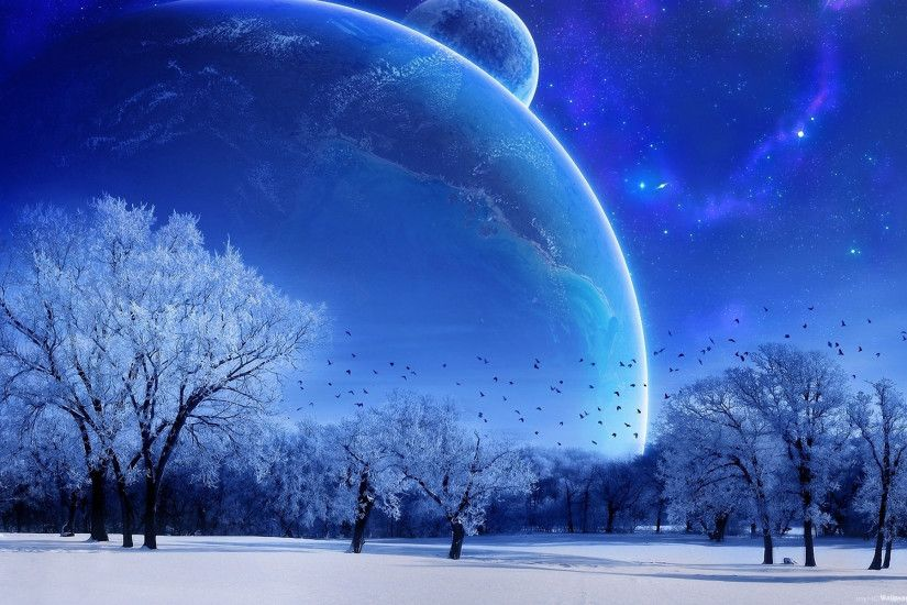 Winter Alien Planet Wallpaper.