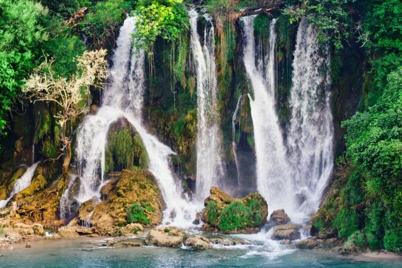 Renatures.com - Kravica Mountains Forest Nature Water Cliff Waterfalls  Beautiful Blue Waterfall Scenery Wallpaper