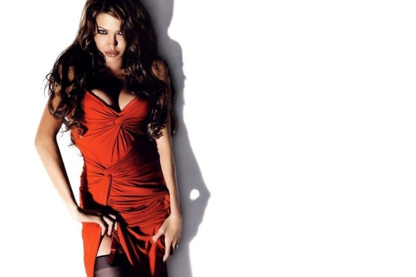 red Dress, Cleavage, Blue Eyes, White Background, Angelina Jolie Wallpaper  HD