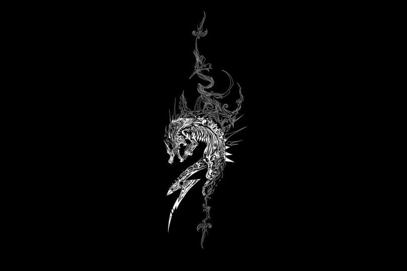 1920x1200 Wallpaper dragon, dark background, patterns