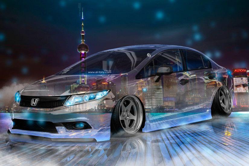 Honda Civic JDM Tuning Crystal City Night Neon Fog Smoke Car 2017 | El Tony