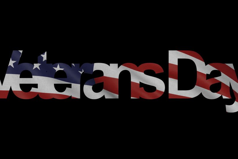 Veterans Day caption and waving American flag 4K intro animation