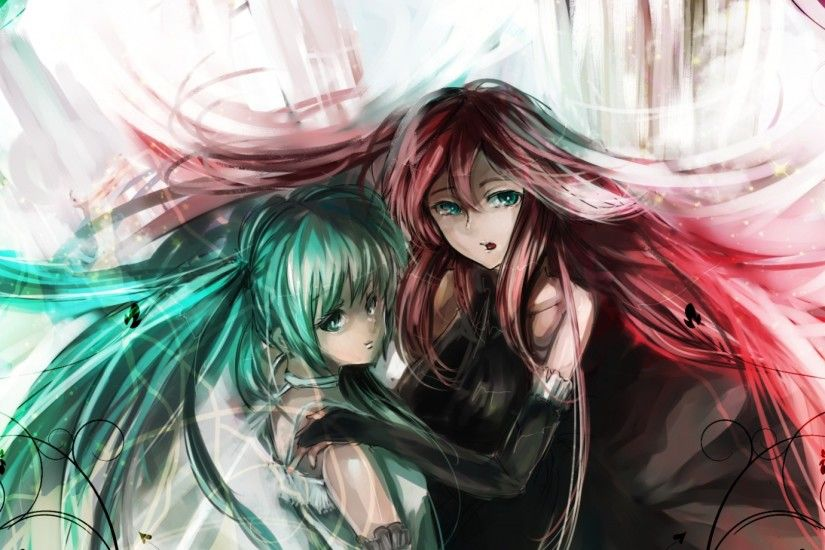 Preview wallpaper hatsune miku, megurine luka, dress, pink hair, green hair,