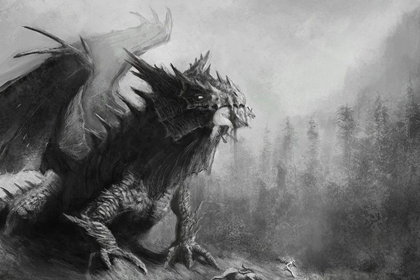 Black And White Dragons Forests Fantasy Art Drawings Wallpaper