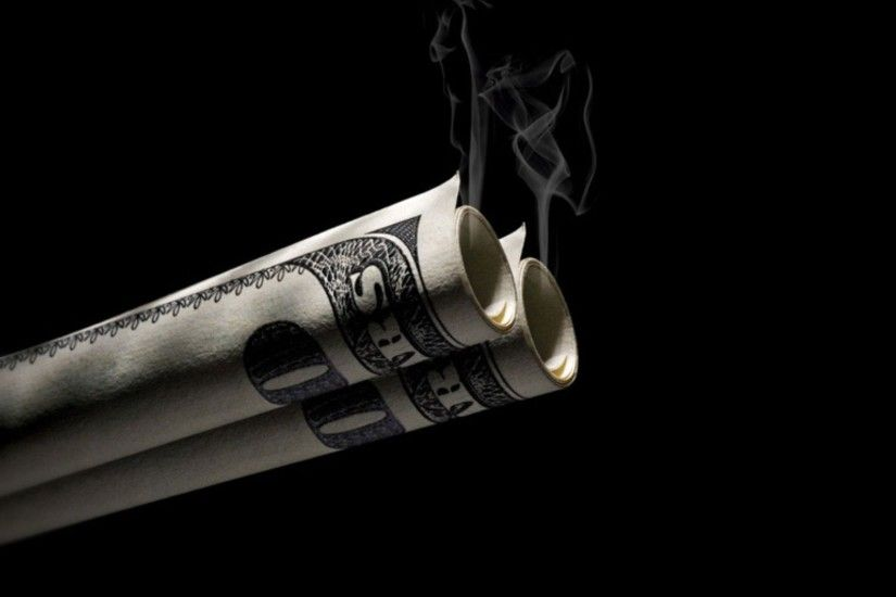 Preview wallpaper dollar, bills, smoke, background 3840x2160