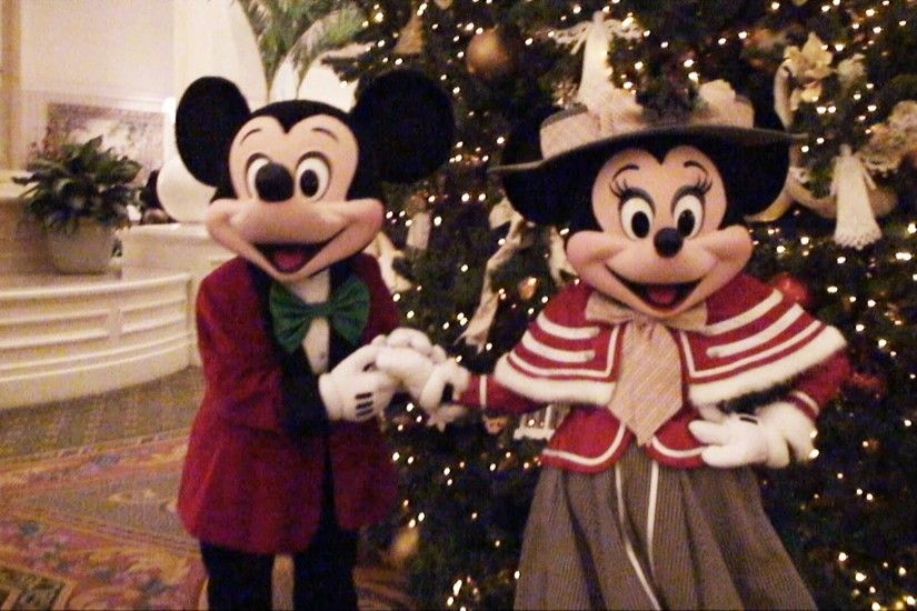 Mickey and Minnie Mouse Meet & Greet in Victorian Christmas Outfits -  Disney Grand Floridian Resort - YouTube