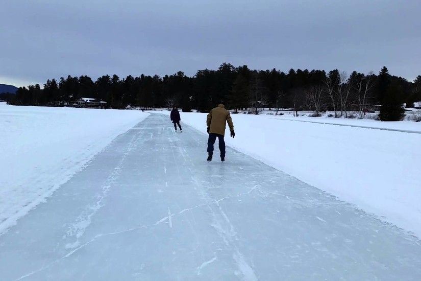 Ice skating on frozen Mirror Lake