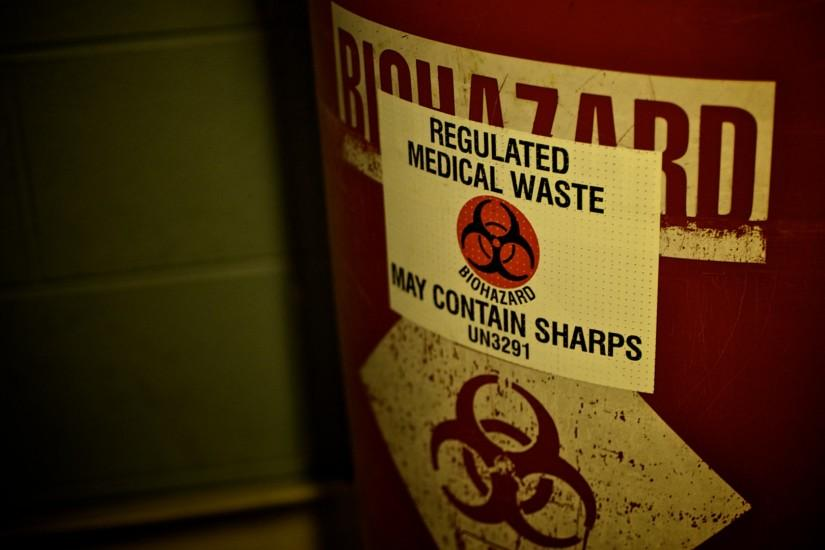 Biohazard waste warning sign needles text dark horror blood wallpaper |  1920x1080 | 40164 | WallpaperUP
