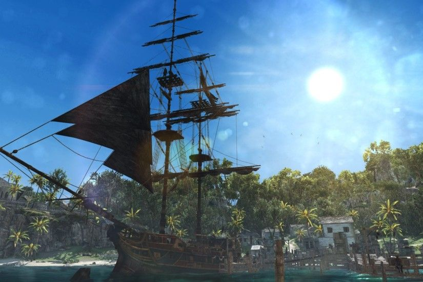 Assassin's Creed IV Black Flag Edward Kenwey Pirate Sword Ship Jackdaw  Water Sea Bay Great Inagua Harbor Sun wallpaper | 1920x1080 | 866766 | ...