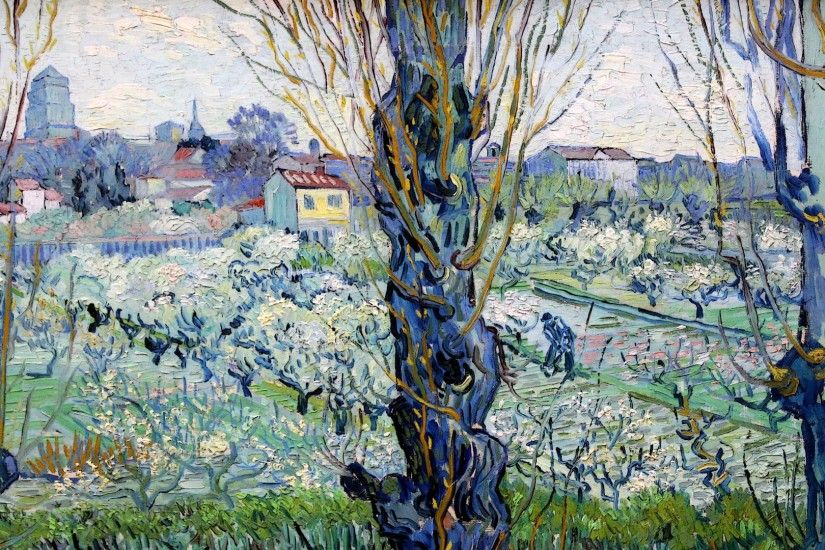 Photo 26 Feb 32 notes · View of Arles - Orchard in Bloom with Poplars in  the Forefront (1889) by