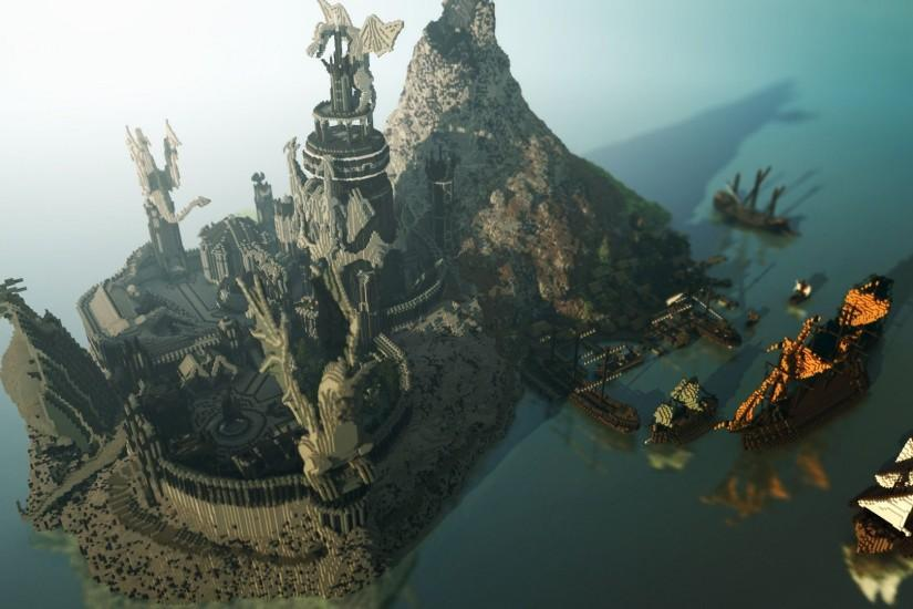 Video Game - Minecraft Mojang Video Game Dragon Boat Ocean Island Mountain  Building Village Wallpaper