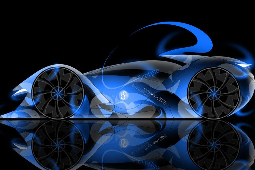 ... Tony-Style-TS-Scorpio-Abstract-Blue-Neon-Car- ...