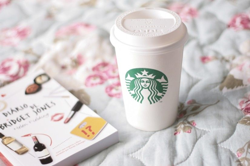 Preview wallpaper starbucks, coffee, cup, book, bed 2560x1440