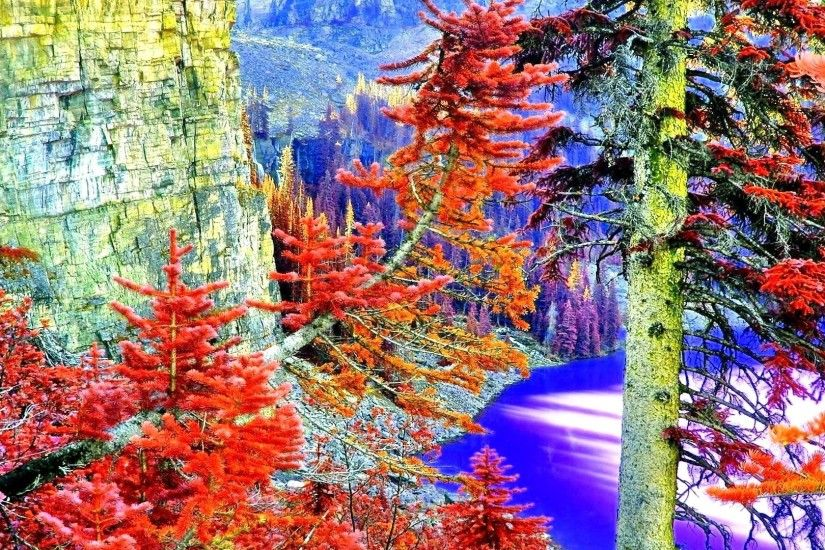 September 11, 2016 - Rocks Leaves Autumn Nature Lake Canadian Fall Colorful  Landscape Trees Paradise