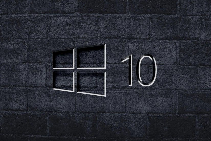 Windows 10 on the gray brick wall [3] wallpaper 1920x1080 jpg